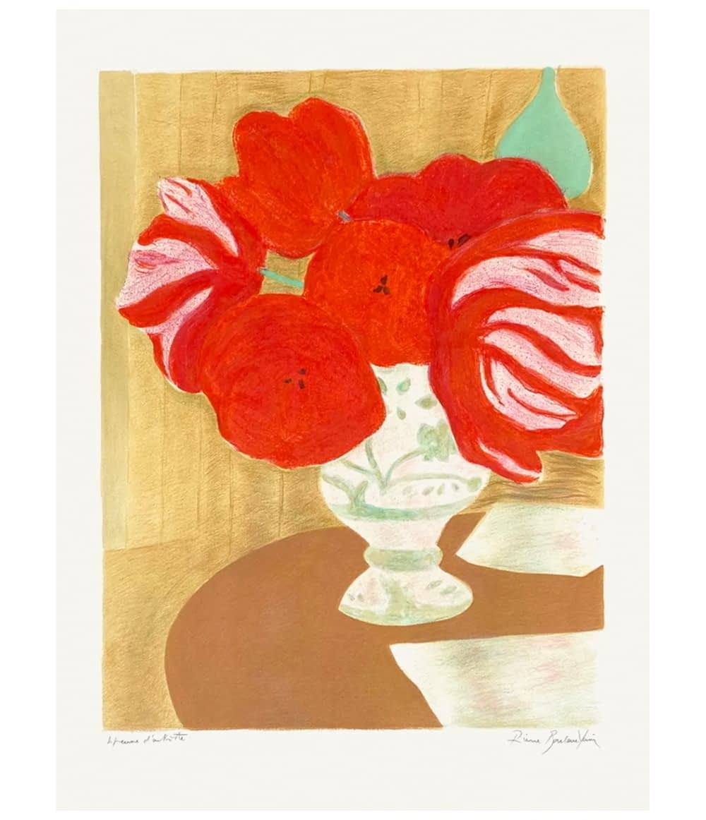 Pierre Boncompain Lithograph Flamed Tulips