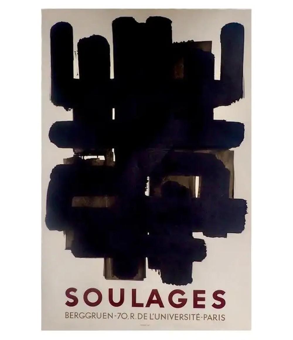 Pierre Soulages Berggruen Exhibiton Lithograph